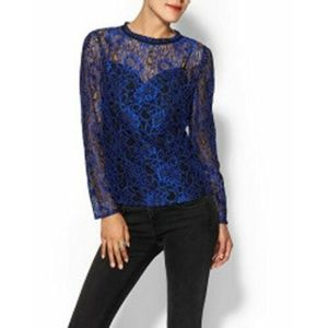 Ted Baker Nomino Blue Metallic Lace Top